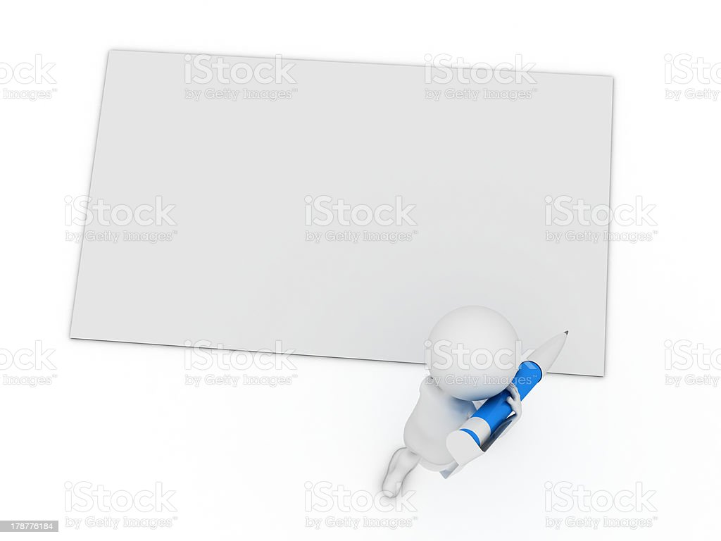 little 3d character write a card with big pen stock photo
