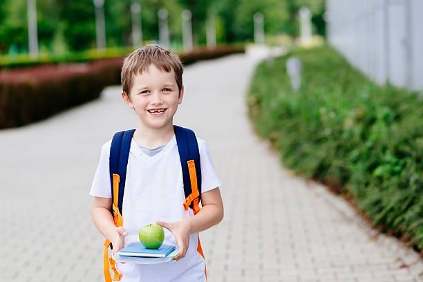 little 7 years old boy with books and apple - schulkind nur jungen stock-fotos und bilder