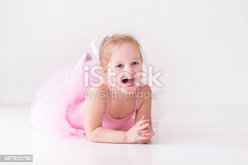 istock Little adorable ballerina in pink tutu 487925780