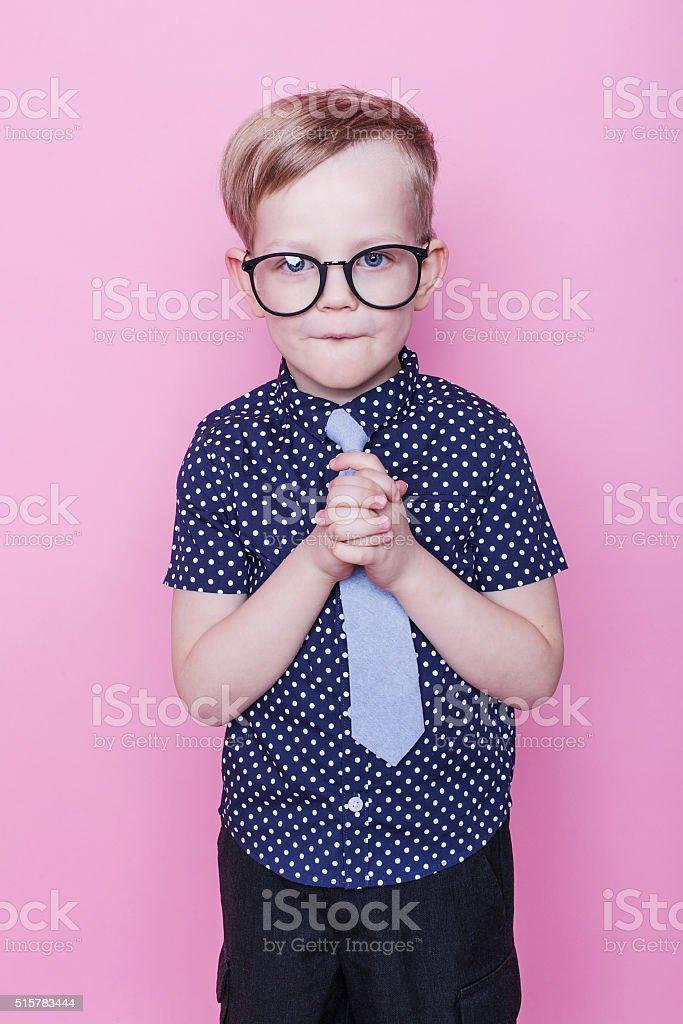 2970b5cf0196 Little adorable boy in tie and glasses. School. Preschool. Fashion  royalty-free