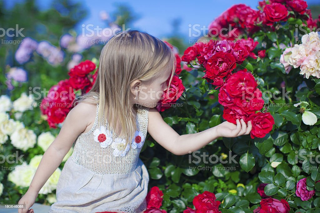 Little adorable girl sitting near colorful flowers in the garden royalty-free stock photo