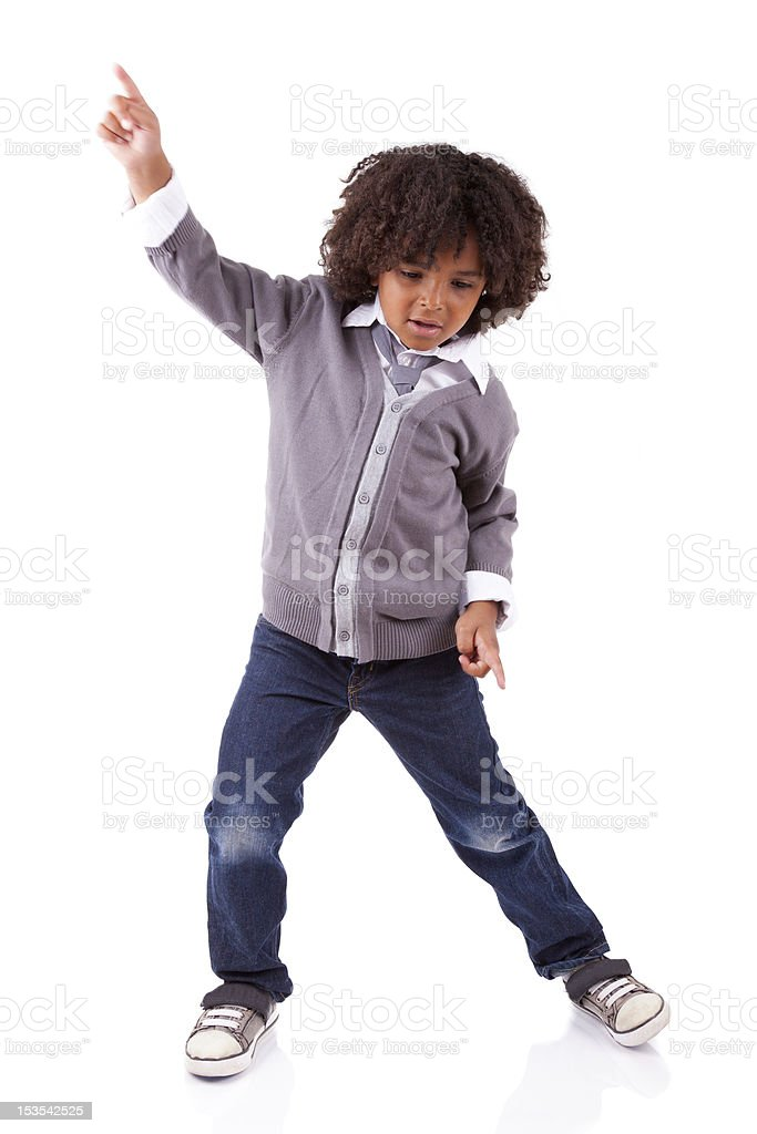 Little african american boy dancing royalty-free stock photo