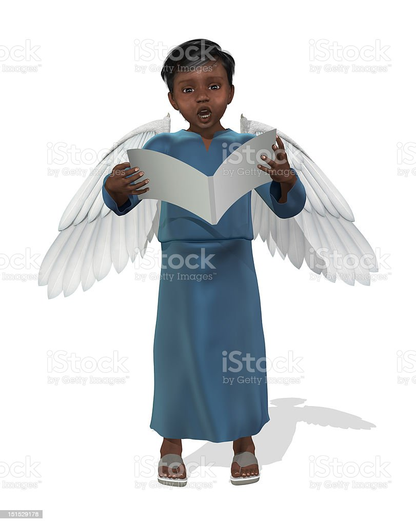 Little African Angel Singing stock photo
