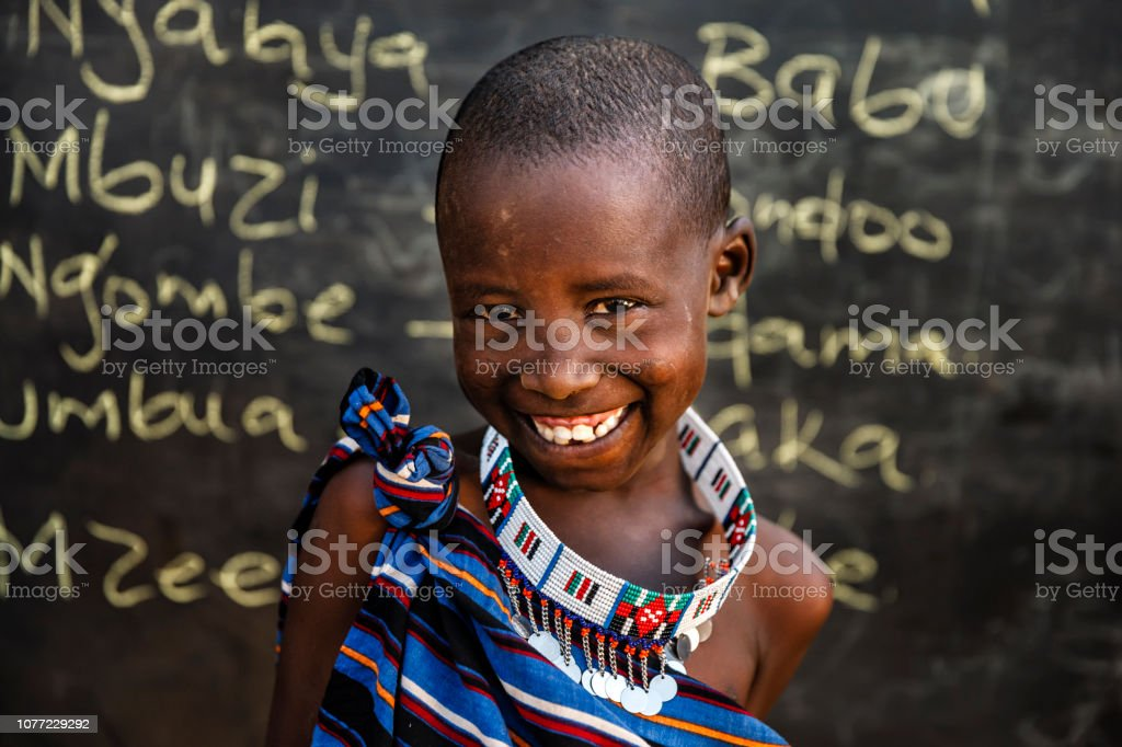 African children from Maasai tribe during Swahili language class in...