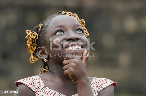 istock Little African Girl Thinking About Her Future on the Black Continent 649673344