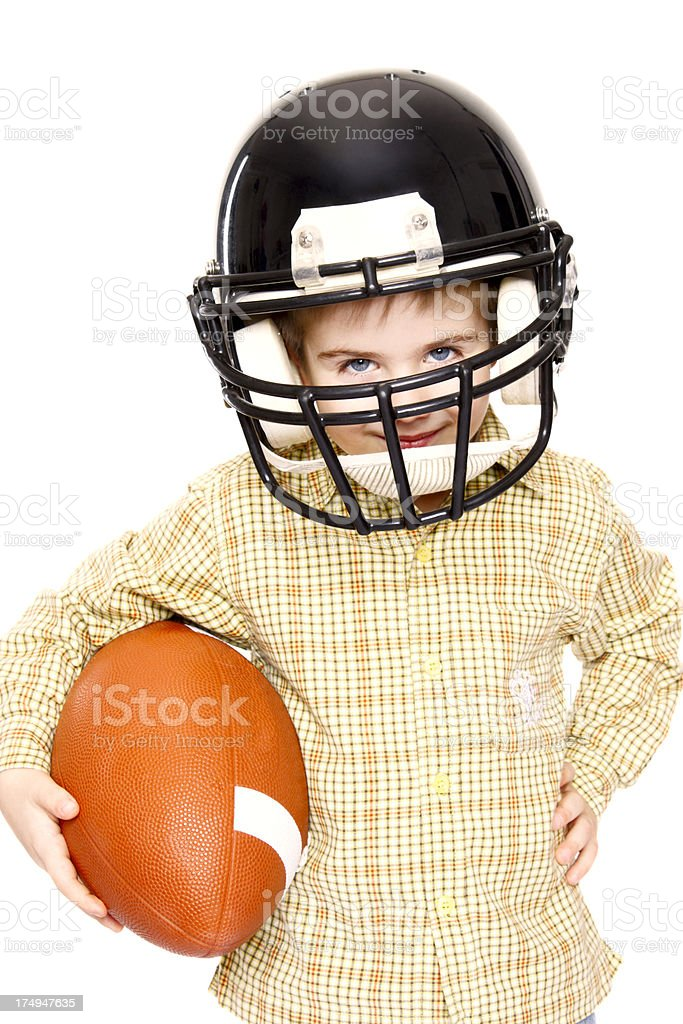 Little american football player royalty-free stock photo