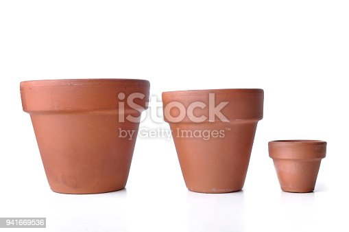 little and big  terra cotta pots isolated on white background