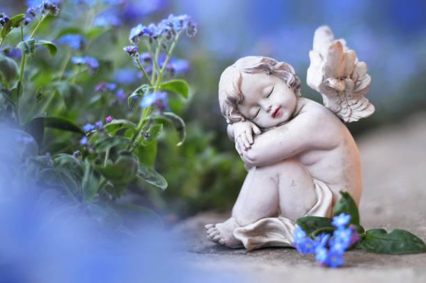 Kleiner Engel und Frühlingsblumen – Foto