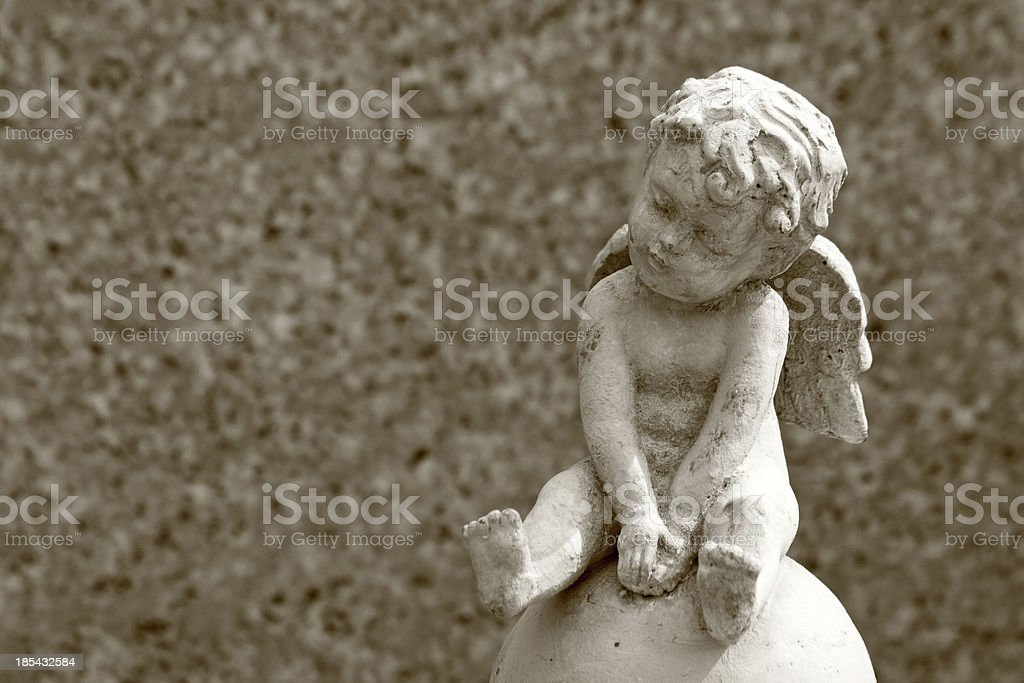 little angel statue and space for text stock photo