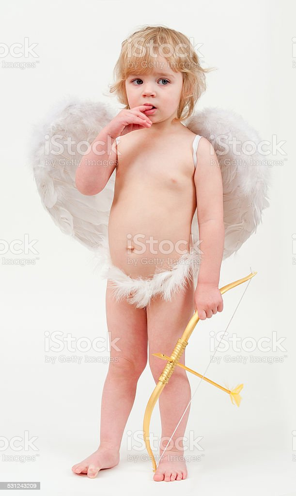 little angel with bow and arrow stock photo