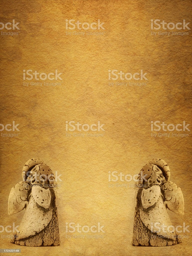 little angels on old paper stock photo