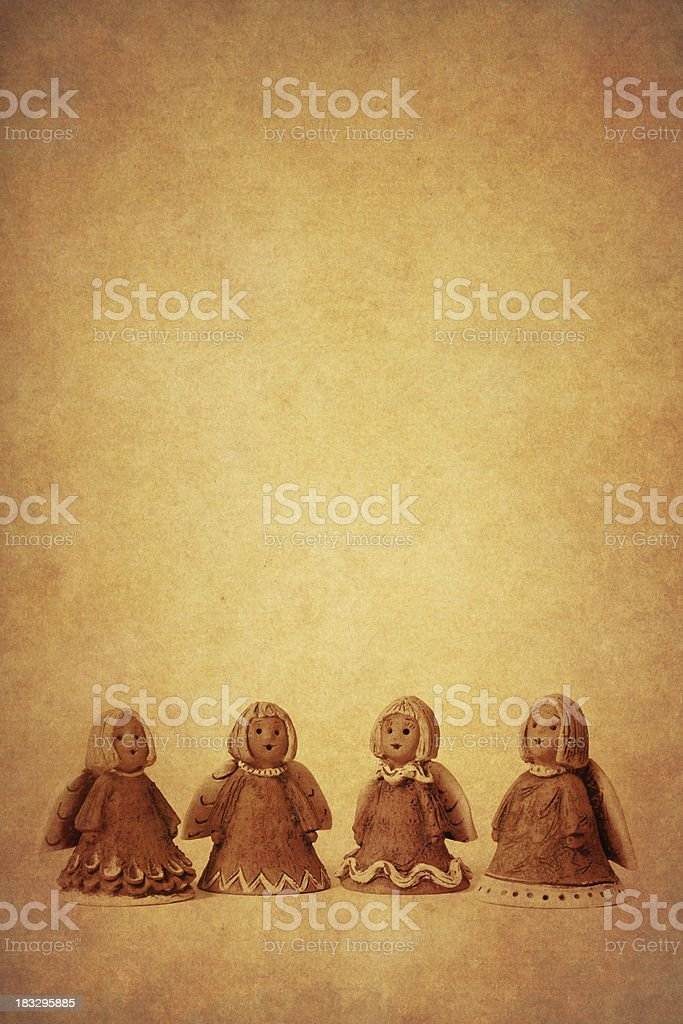 little angels on old paper royalty-free stock photo