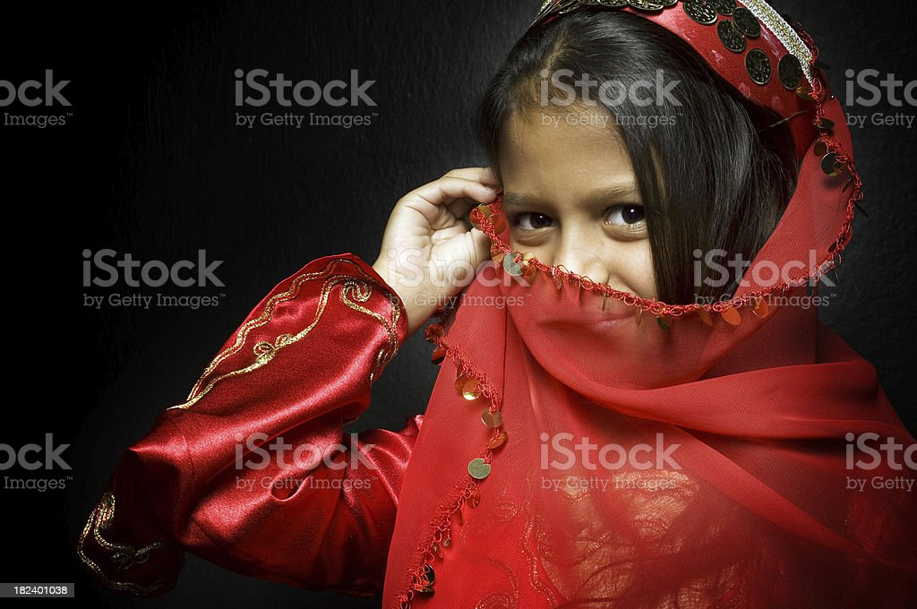 Little arabian girl stock photo