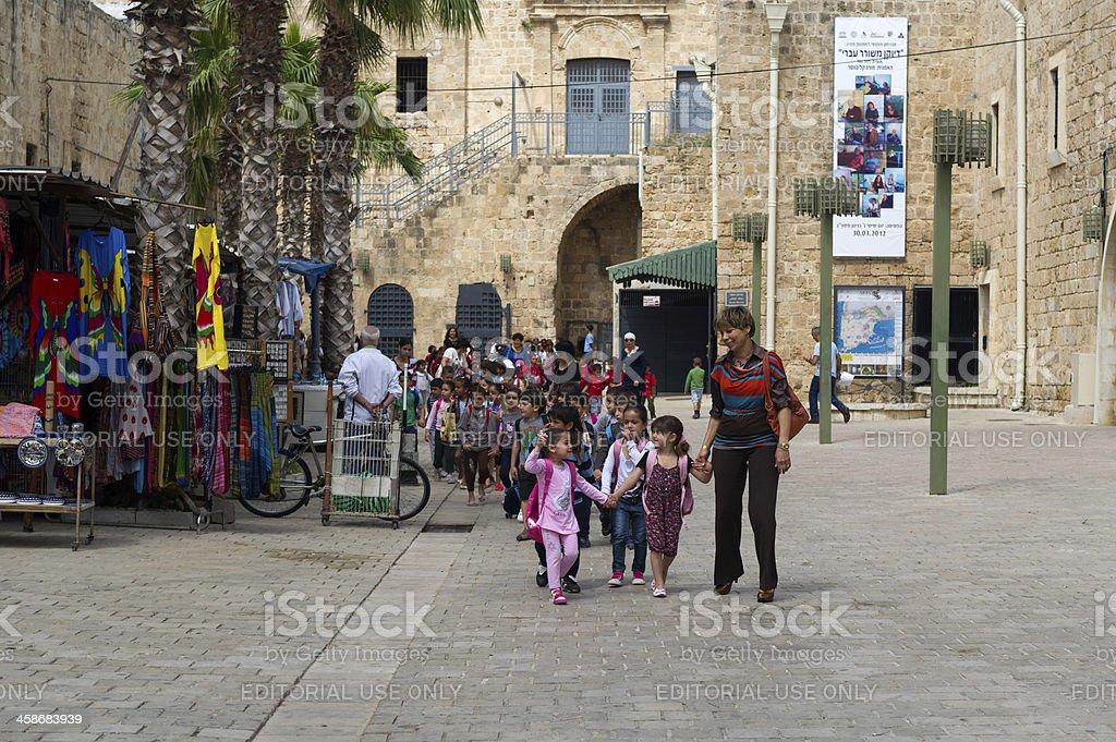 Little arabic girls going to school stock photo