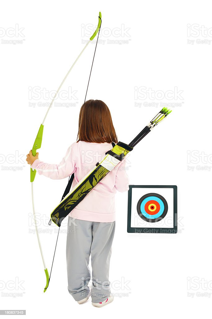 Little Archery girl holding a bow royalty-free stock photo