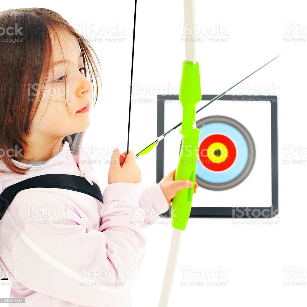 Little Archery girl in front of the Target royalty-free stock photo