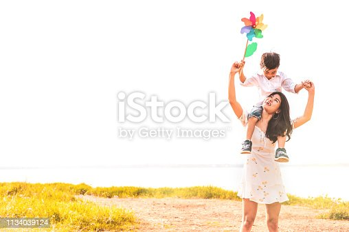 istock Little Asian boy riding back on his super power mom in meadow near lake. Mother and son playing together. Celebrating in Mother day and appreciating concept. Summer people and lifestyle theme. 1134039124