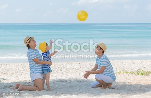 147878016 istock photo Little asian girl playing yellow ball with mom and dad on the beach in summer. Little girl have enjoy and happy with family in holiday, Happy family concept. 1211529221