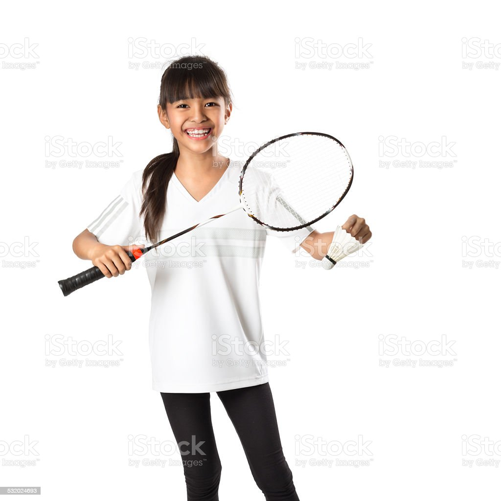 Little asian girls with badminton stock photo