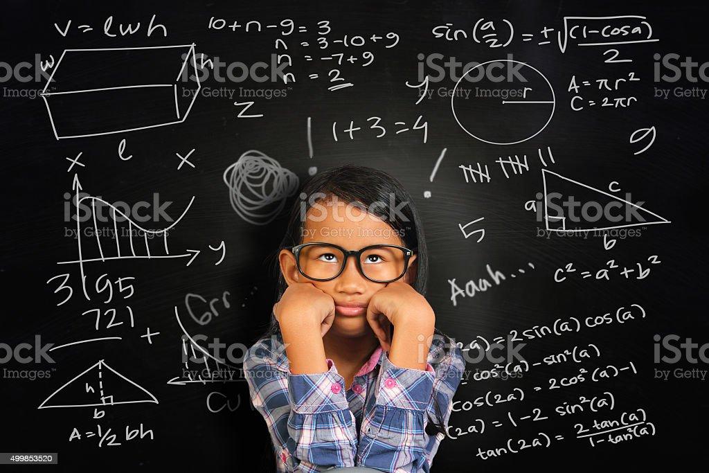 Little Asian Student Girl Getting Sick of Math stok fotoğrafı