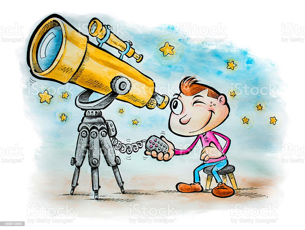 Little astronomer stock photo