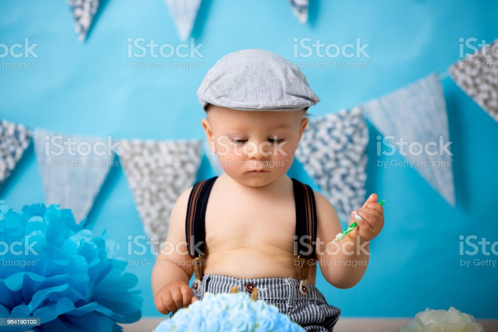 Excellent Little Baby Boy Celebrating His First Birthday With Smash Cake Funny Birthday Cards Online Alyptdamsfinfo