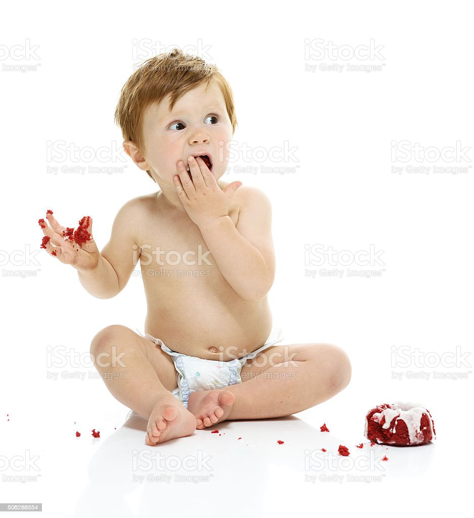 Little Baby Boy Eating His First Birthday Cake Stock Photo More