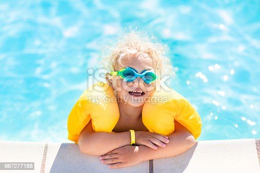 467327992istockphoto Little baby boy playing in swimming pool 667277188