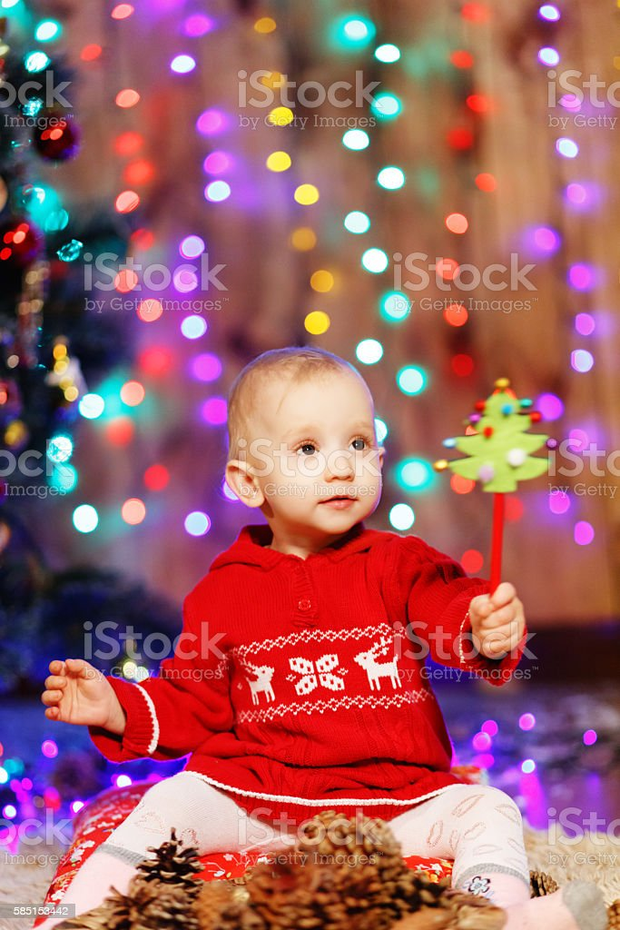 Little Baby Girl In Christmas Decorations Stock Photo Download Image Now Istock