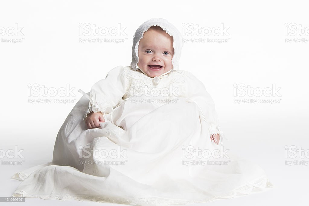 little baby girl ready for baptism stock photo