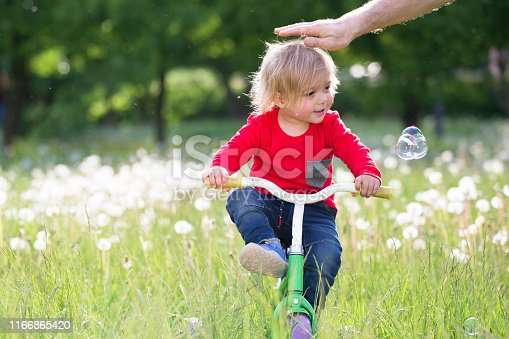 istock Little baby on a bicycle on a green meadow. Two year old boy on a tricycle. Kid playing on the field with dandelions 1166865420