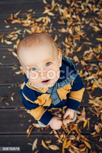 istock Little baby playing with autumn leaves on a wooden floor 508763578