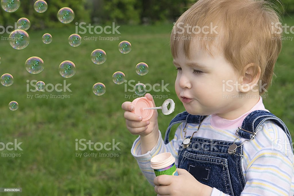 little baby puff up soap bubbles royalty-free stock photo
