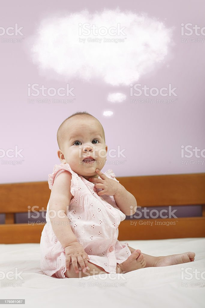 Little baby thinking royalty-free stock photo