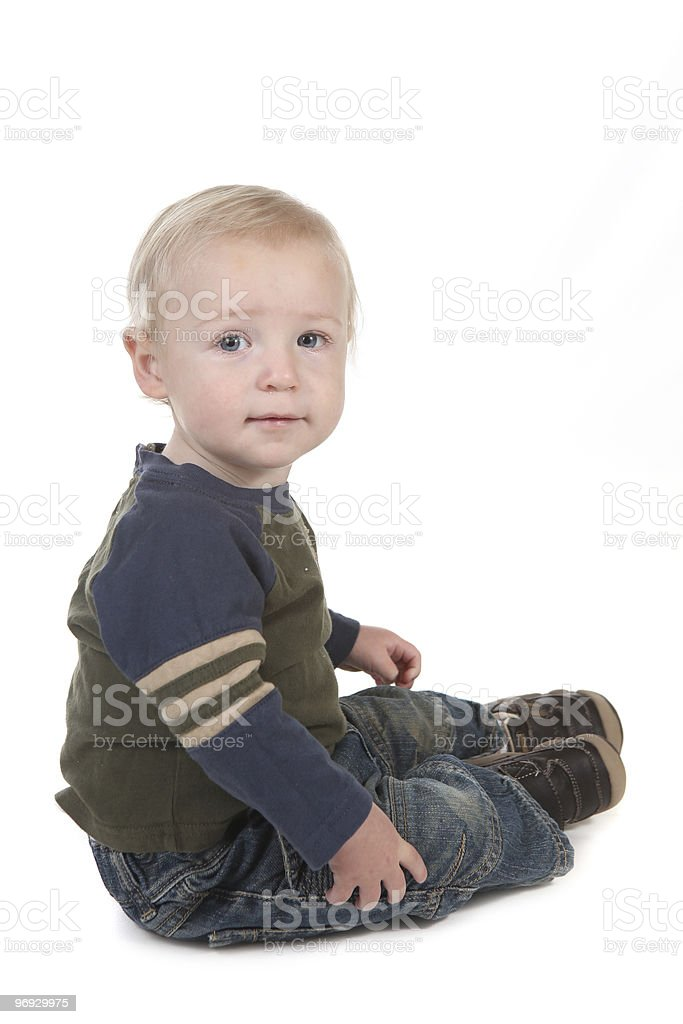 Little Baby Toddler Sitting Sideways royalty-free stock photo