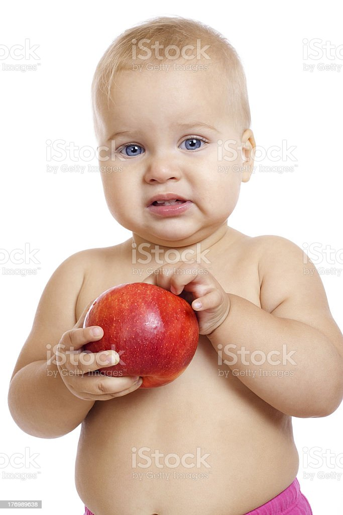 Little baby with apple royalty-free stock photo