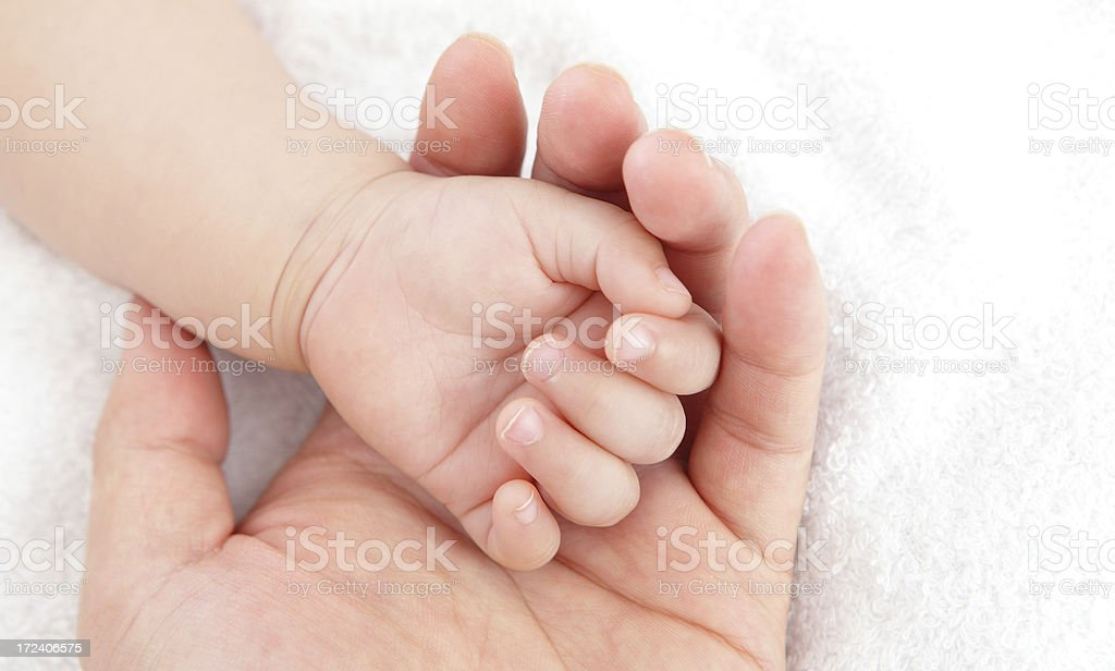 little baby with mother hand royalty-free stock photo