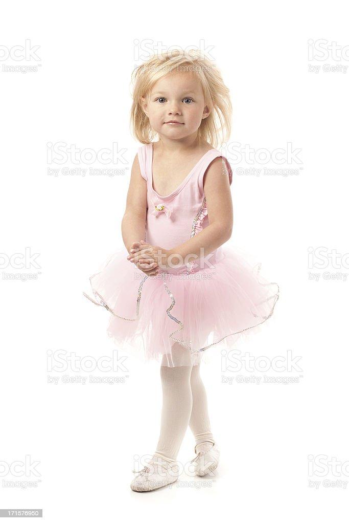 Little Ballerina Dancer Girl Wearing Pink Tutu stock photo