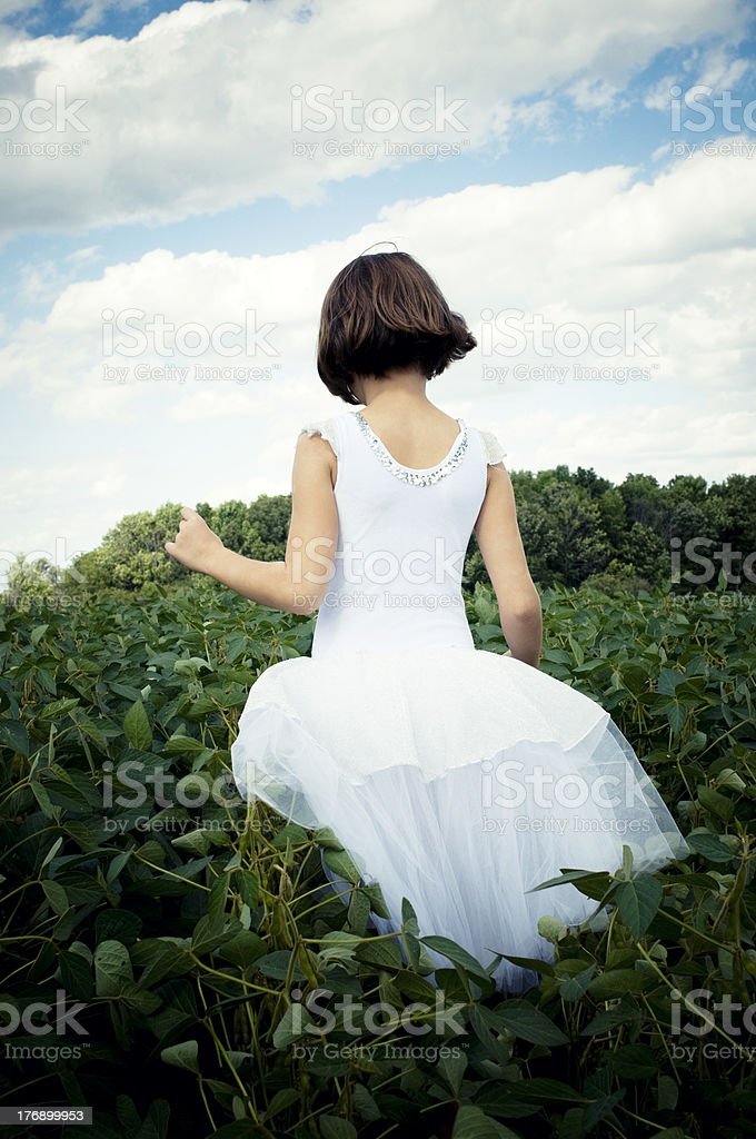 Little Ballerina, Fairy Girl in a Green Field royalty-free stock photo