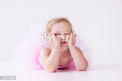 istock Little ballerina in pink tutu 487925664