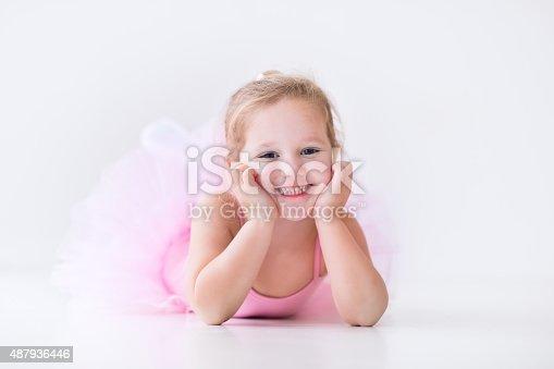 istock Little ballerina in pink tutu 487936446