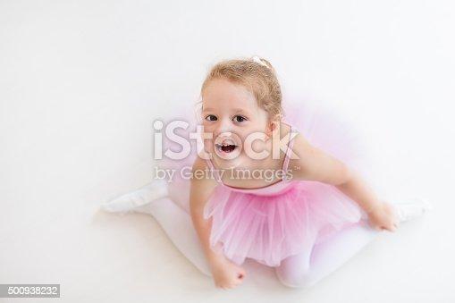 istock Little ballerina in pink tutu 500938232