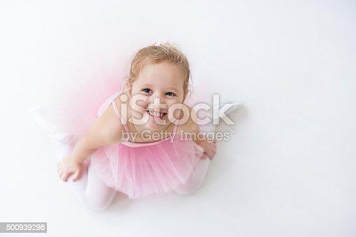 istock Little ballerina in pink tutu 500939298