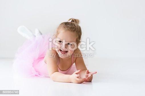 istock Little ballerina in pink tutu 500954740