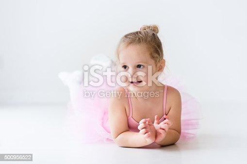 istock Little ballerina in pink tutu 500956522