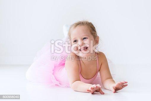 istock Little ballerina in pink tutu 500958040