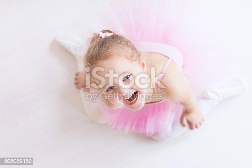 istock Little ballerina in pink tutu 508059152