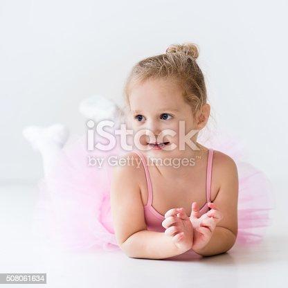istock Little ballerina in pink tutu 508061634