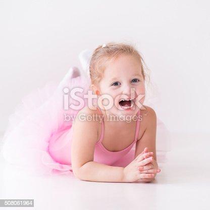 istock Little ballerina in pink tutu 508061964
