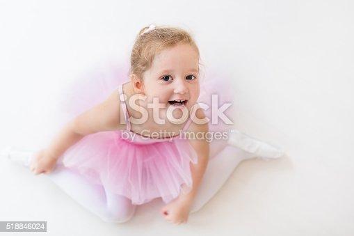 istock Little ballerina in pink tutu 518846024